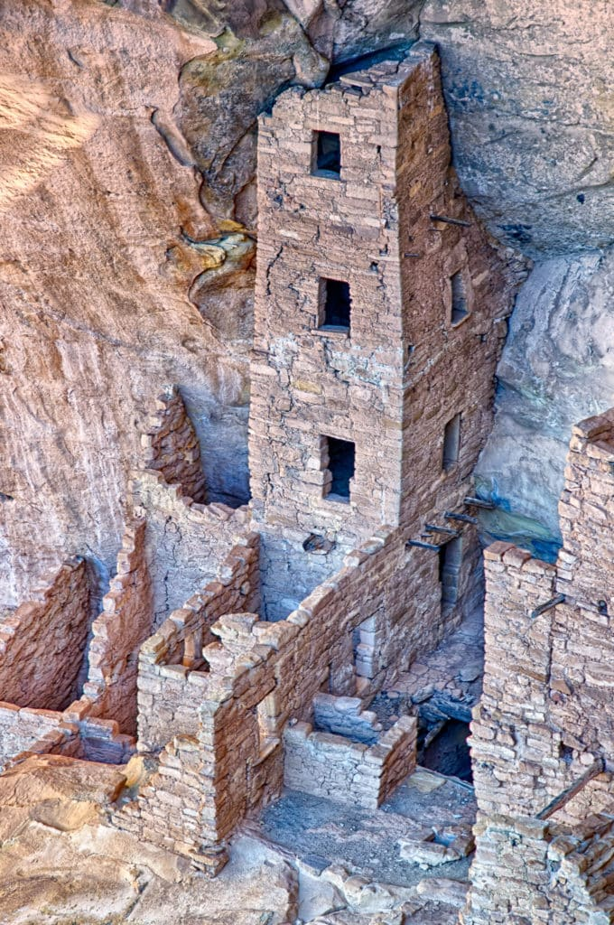 Tower at Square House Ruins. in Mesa Verde National Park near Durango and Cortez, Colorado.