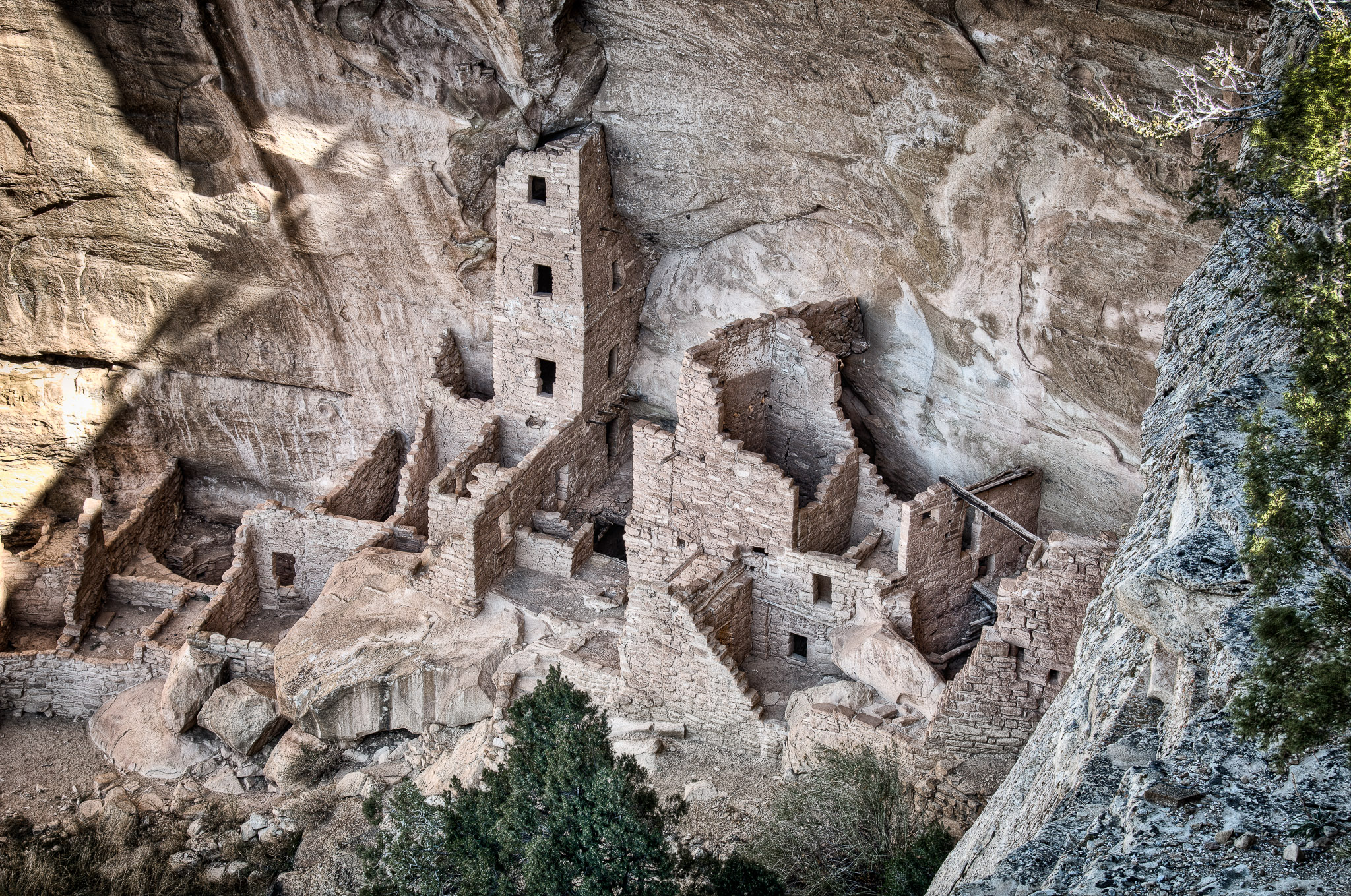 Square Tower House Ruins. in Mesa Verde National Park near Cortez and Durango, Colorado.
