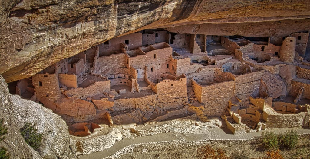 Overview of Cliff Palace taken from an overlook across Cliff Canyon in Mesa Verde National Park near Cortez, Colorado.