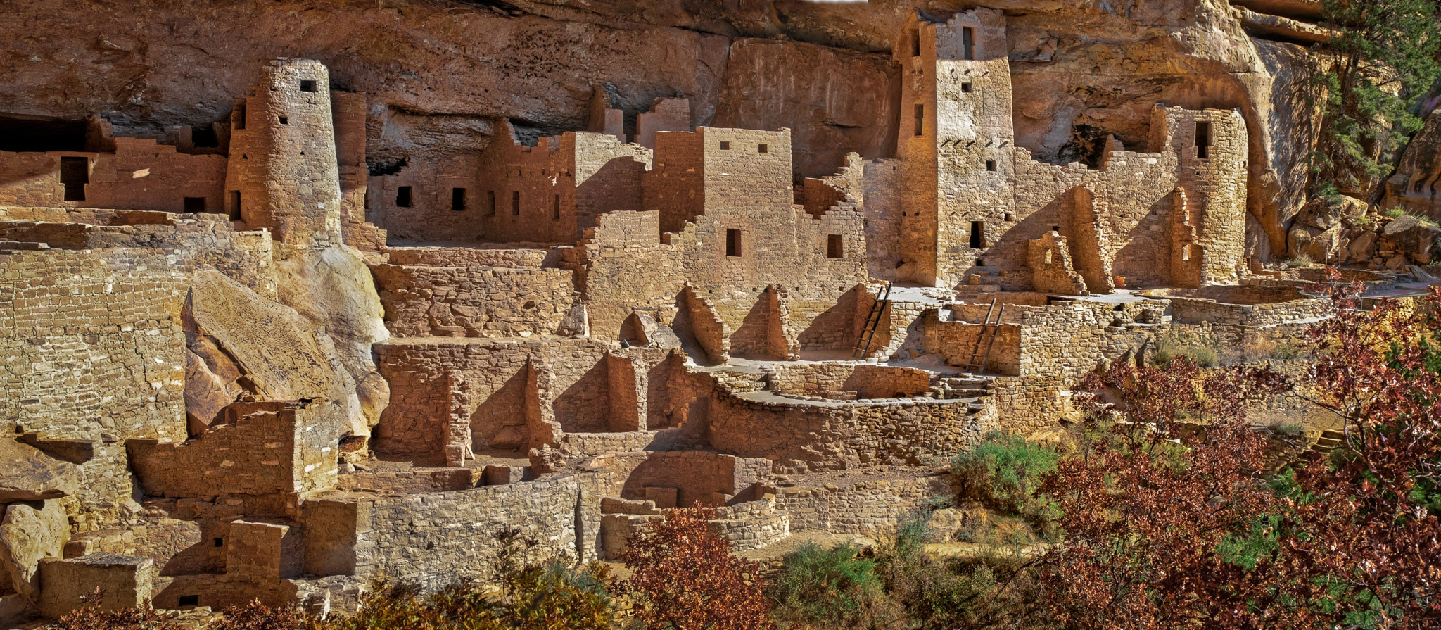 This panoramic view of cliff palace was taken between tour groups. It is the largest cliff dwellingin Mesa Verde National Park near Cortez, Colorado.