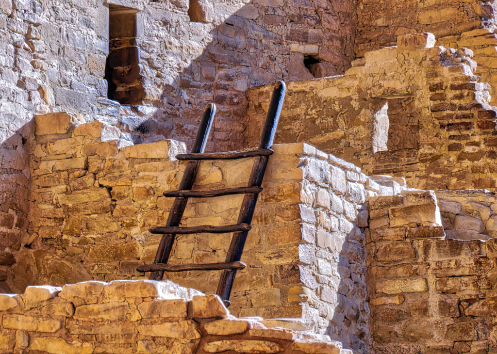 Ladder in the Cliff Palace Ruins in Mesa Verde National Park near Durango and Cortez, Colorado.
