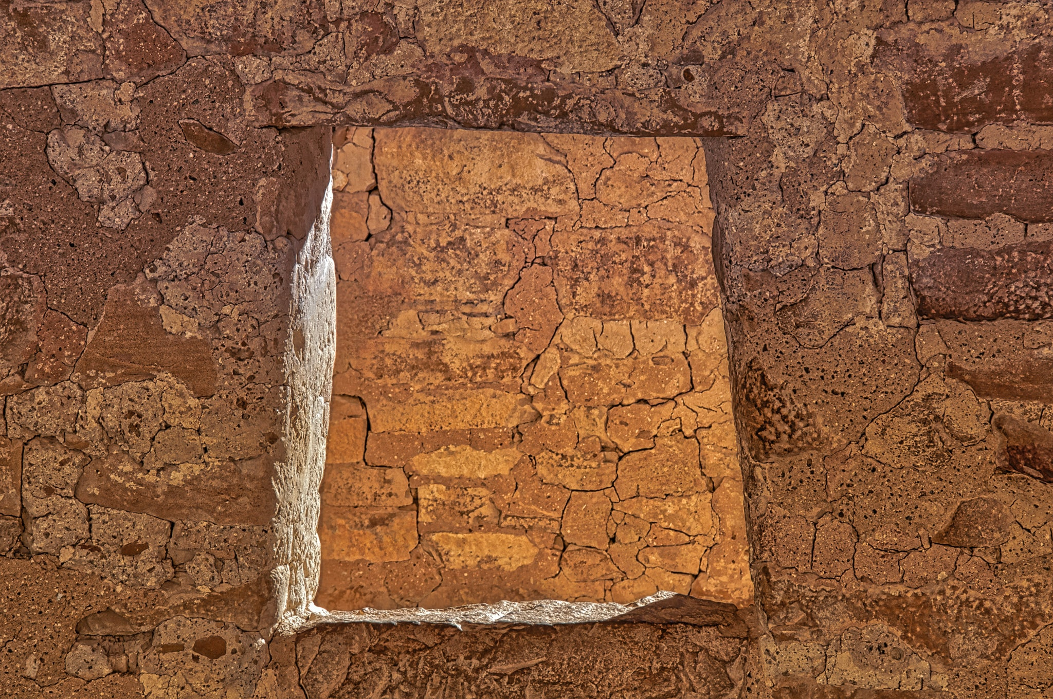 A view through a window in one of the ruins in Cliff House pueblo in Nesa Verde National Park near Durango, Colorado.