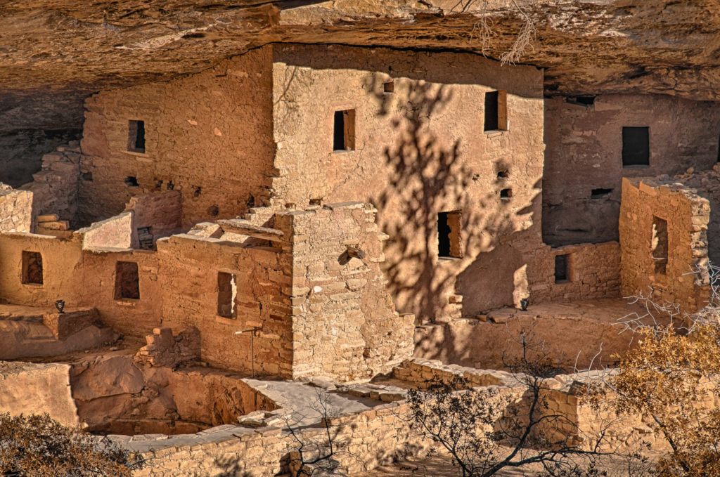 Shadow of Spruce Tree on Spruce House in Mesa Verde National Park near Cortez and Durango, Colorado.