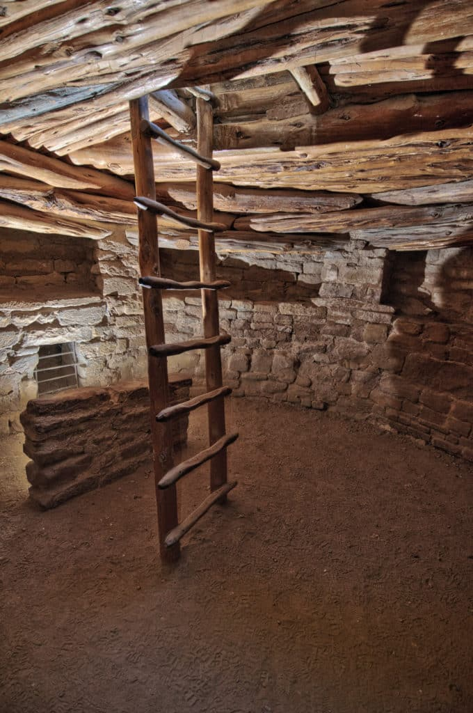 This photo was taken down in the large kiva at Spruce House in Mesa Verde National Park near Cortez and Durango, Colorado.