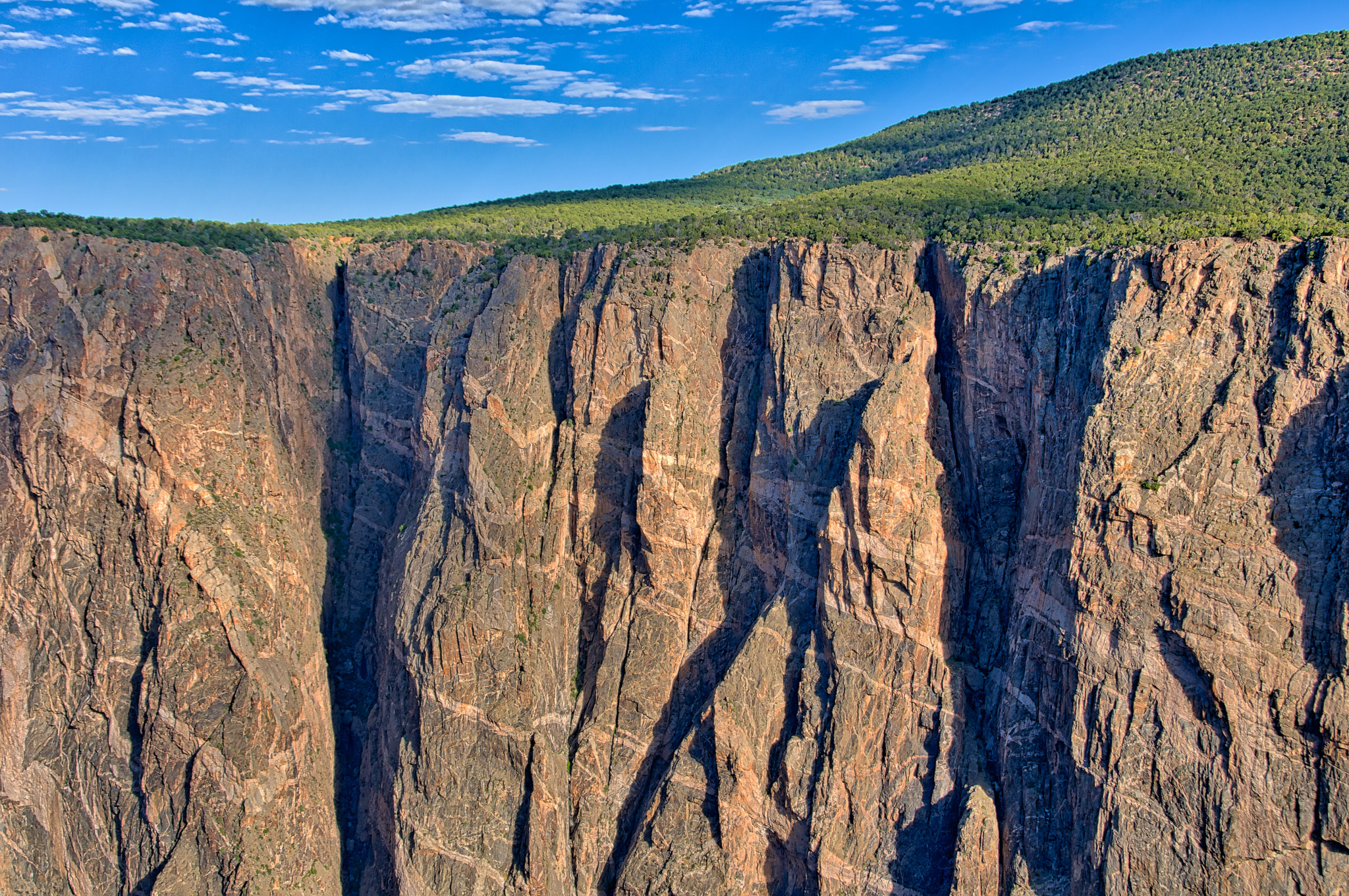A view of the Painted Wall taken from northeast of Dragon Point in Black Canyon of the Gunnison National Park near Montrose, Colorado.