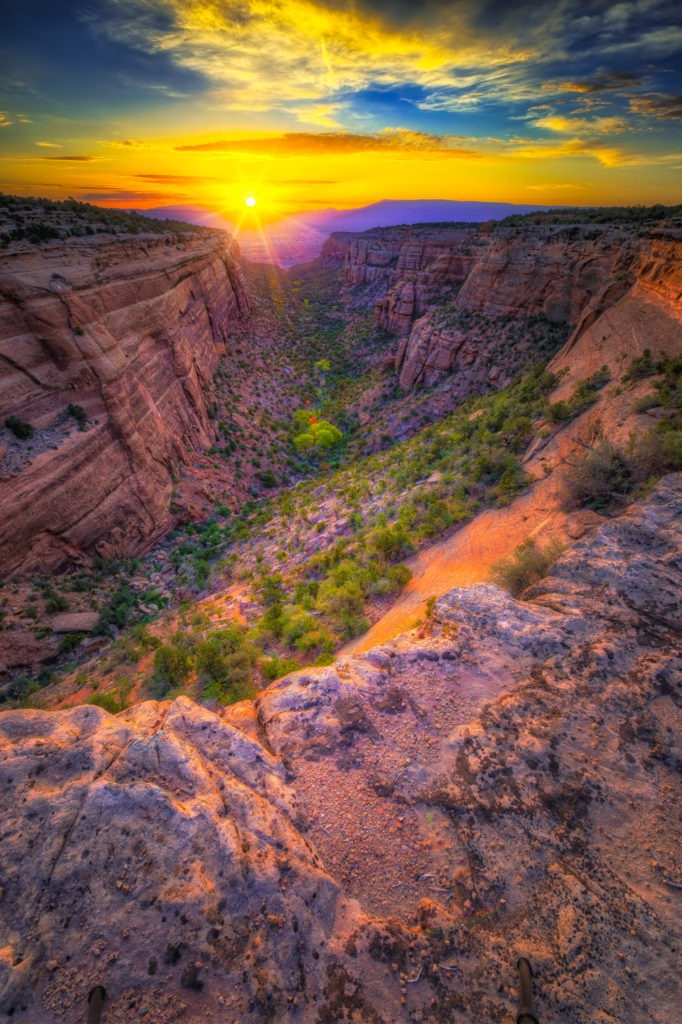 Sunrise through Red Canyon at Colorado National Monument near Grand Junction, Colorado.