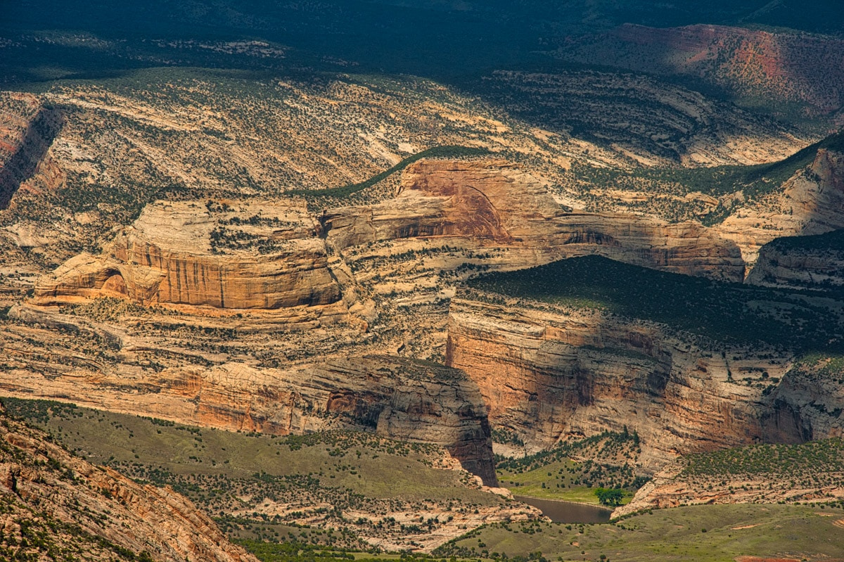 Taken from the Canyon Overlook, along Harpers Corner Road, you can see iconic Steamboat Rock near the confluence of the Green and Yampa Rivers in Dinosaur National Monument, Colorado.
