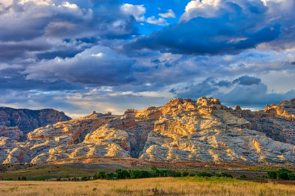 The Weber Sandstone of Split Mountain in Dinosaur National Monument catches the late afternoon sun.