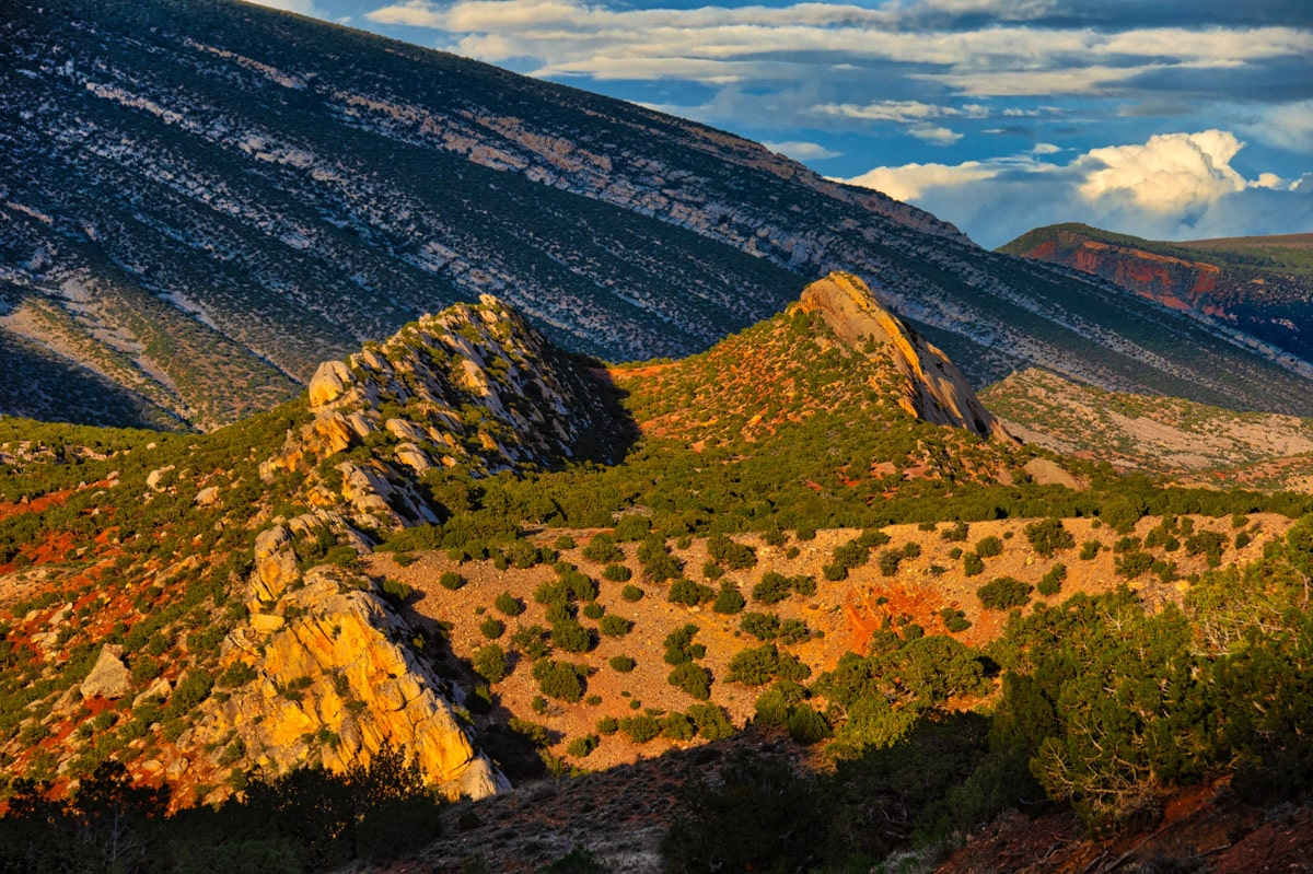 The road to Split Mountain Campground in Dinosaur National Monument provides stunning views of the Split Mountain anticline--especialy at sunset.