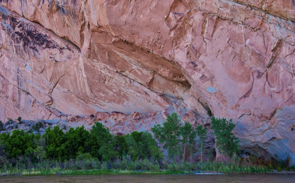 This closeup view of Split Mountain was taken from the Split Mountain boat launch in Dinosaur National Monument, Utah.