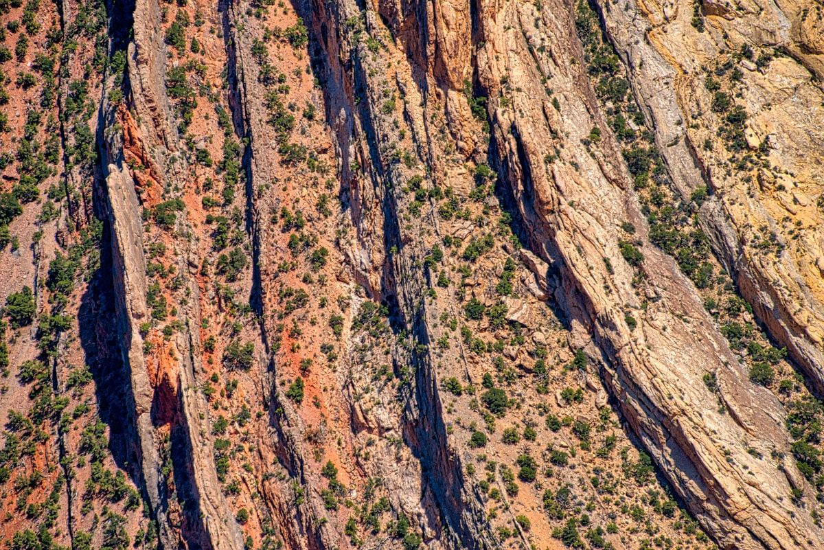This is a closeup view of part os the Mitten Park fault, showing the interbedded layers of sandstone and limestone in the Morgan Formation. The Fault is upstream of Whirlpool Canyon in Dinosaur National Monument, Colorado.