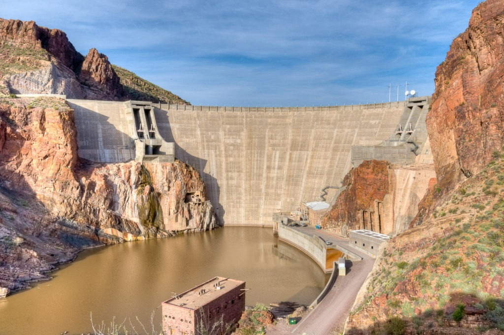 Downstream side of Roosevelt Dam at the end of the Apache Trail, east of Phoenix, Arizona.