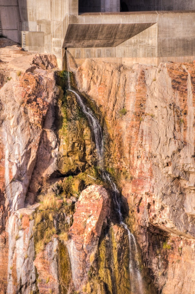 Stream released through the side of Roosevelt Dam, east of Phoenix, Arizona.