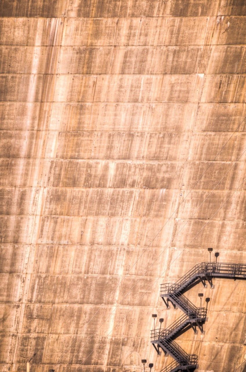 Detail view of the downstream face of Roosevelt Dam east of Phoenix, Arizona.