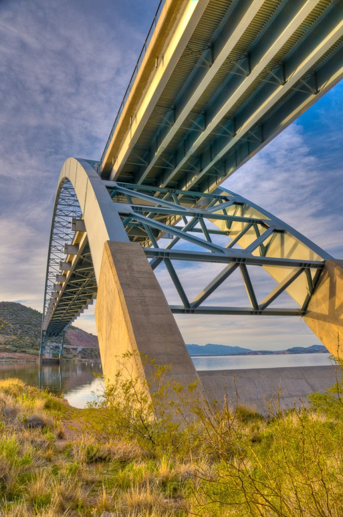 View from below the east end of the bridge carrying Arizona route 188 over the inlet to Theodore Roosevelt Dam, east of Phonenix, Arizona.