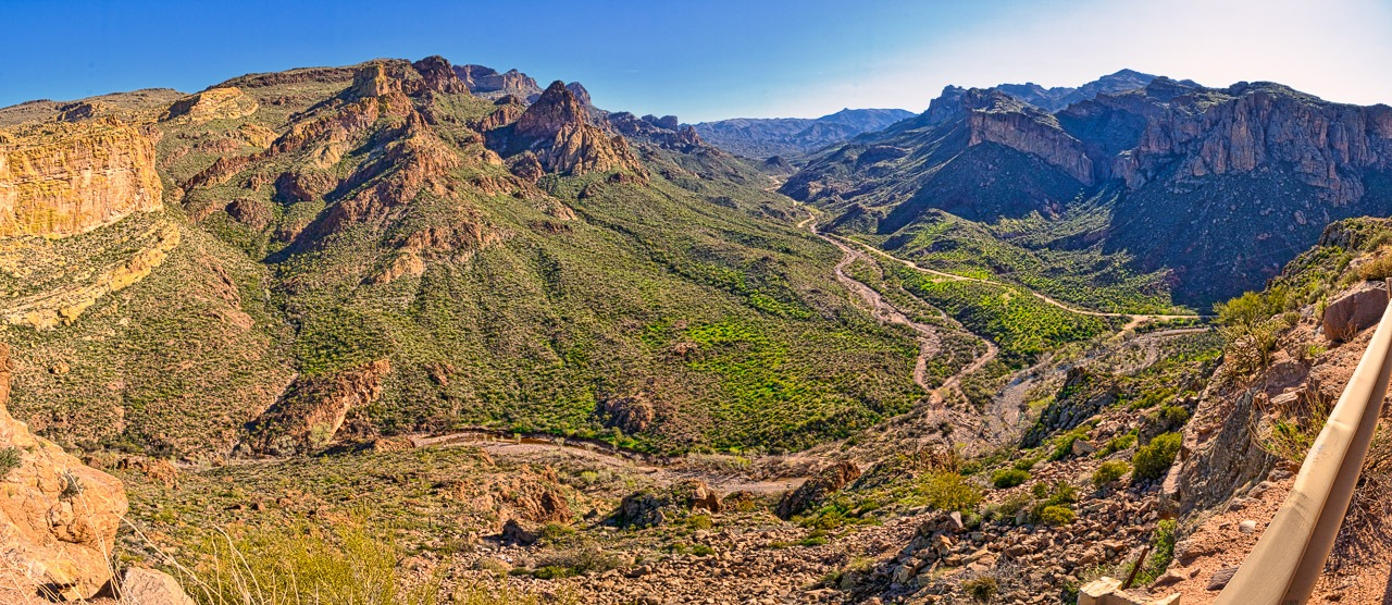 Panoramic view of the view from the top of Fish Creek Hill along the Apache Trail, east of Phoenix, Arizona.
