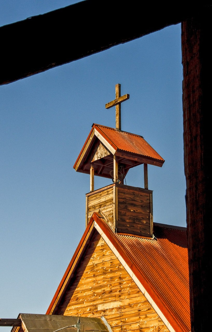 The steeple of the Church on the Mount in Goldfield Ghost Town, near Apache Junction, Arizona.