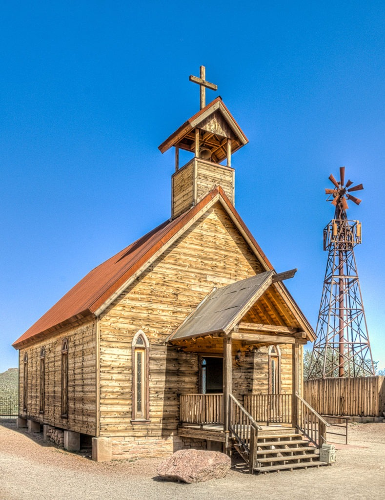Church on the Mount in Goldfield Ghost Town, near Apache Junction, Arizona.