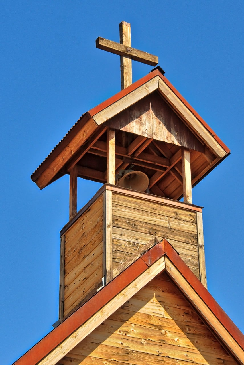 Steeple of the Church on the Mount in Goldfield Ghost Town, near Apache Junction, Arizona.