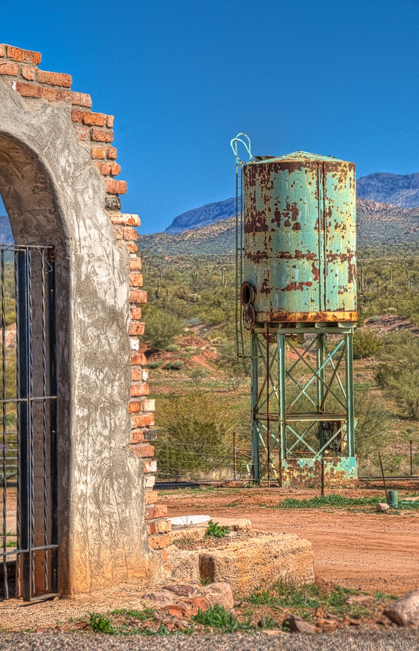Water tower and gate at Goldfield Ghost town, near Apache Junction, Arizona.