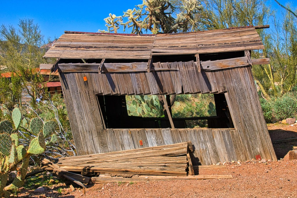 Leaning shack in Goldfield Ghost Town, near Apache Junction, Arizona.