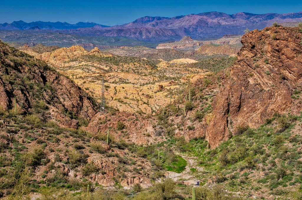 Looking back along the Apache Trail from Apache Gap, near Apache Junction, Arizona.