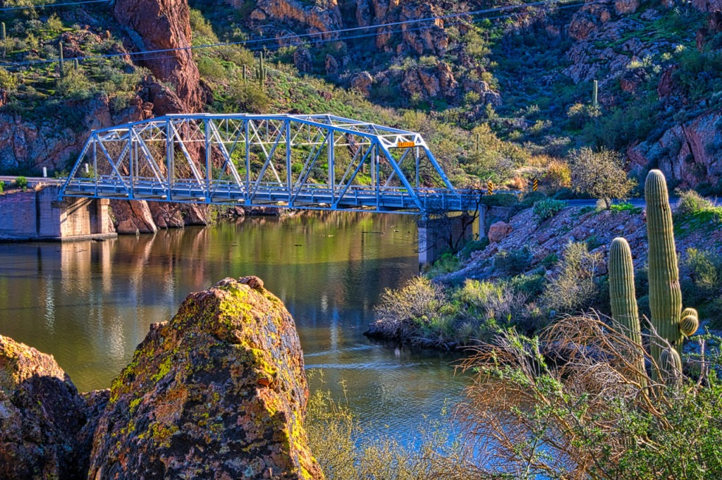 One-lane bridge over First Water Creek as it enters Canyon Lake along the Apache Trail, east of Phoenix, Arizona.