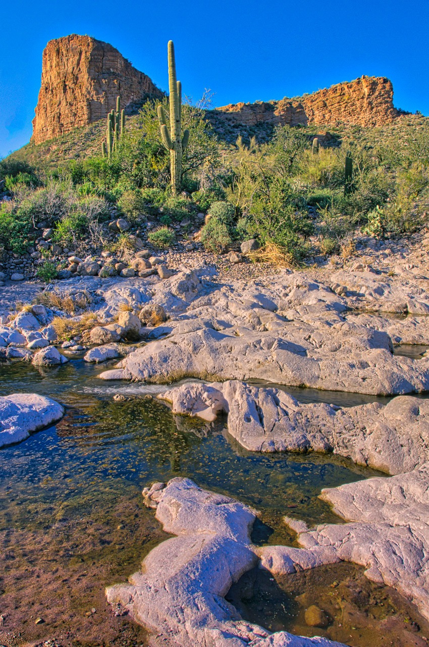 Occasional creek through Tortilla Flat, Arizona, on the Apache Trail. The name is either Tortilla Creek or Boulder Creek, depending on who you ask.
