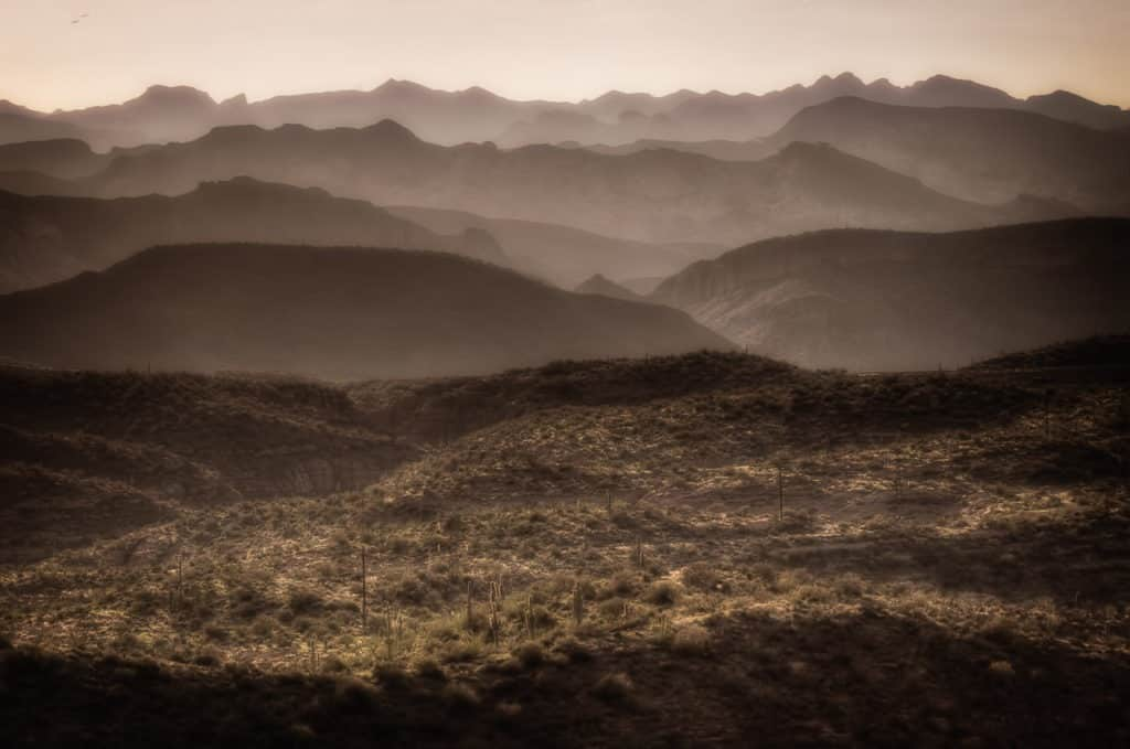 Ridges in Tonto National Forest and Superstition National Wilderness Area along the Apache Trail, east of Phoenix.