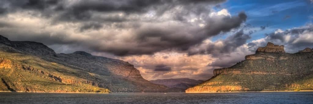 Rain clouds roll in over Apache Lake, east of Phoenix, Arizona.