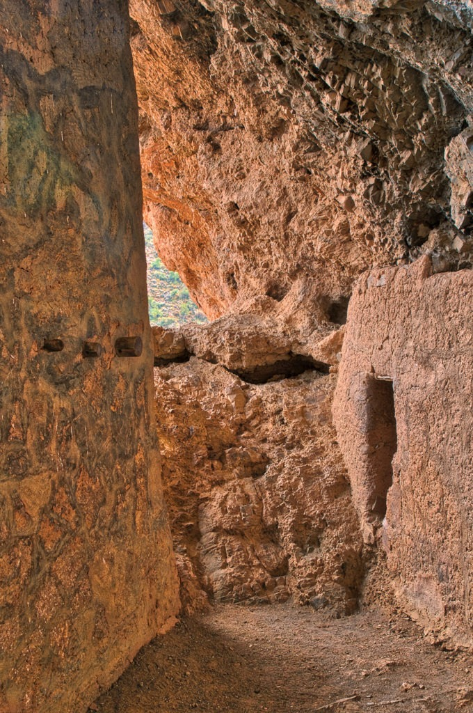 Looking down a passage within the Lower Tonto cliff dwelling near Roosevelt Lake, along the Apach Trail in Arizona.