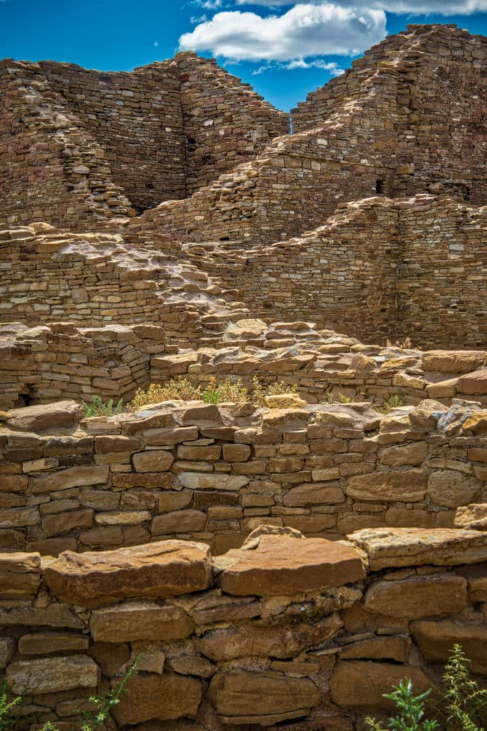 This is a view up the mound at the ruins of Pueblo del Arroyo, which was one of the great houses in Chaco Canyon, New Mexico.