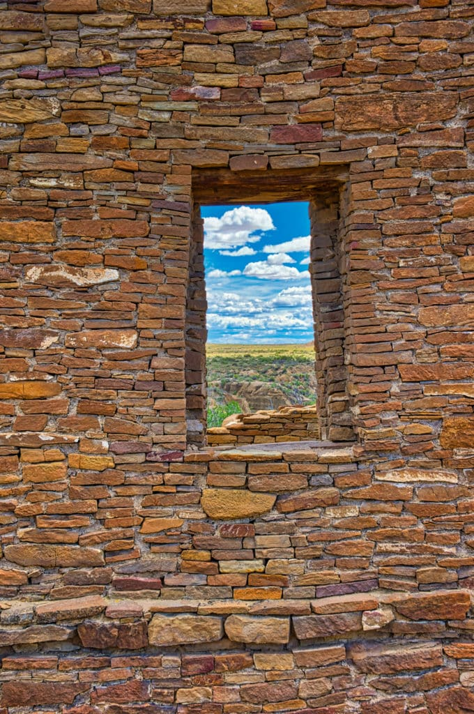Windows provide a view to the west from Pueblo del Arroyo in Chaco Canyon, New Mexico. Wood beams provide support to the tops of windows and were brough to Chaco Canyon from as fara away as 75 miles.