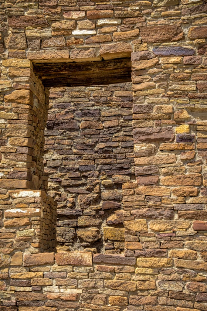 A t-shaped doorway in a wall separating two rooms in Pueblo del Arroyo in Chaco Canyon, New Mexico.