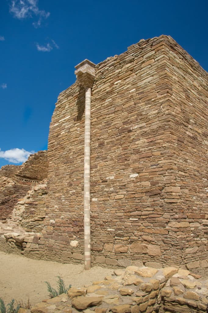 A downspout used to direct runoff from the top of a wall is painted with a camoflage pattern to help it blend in better at the Pueblo del Arroyo ruins in Chaco Canyon, New Mexico.