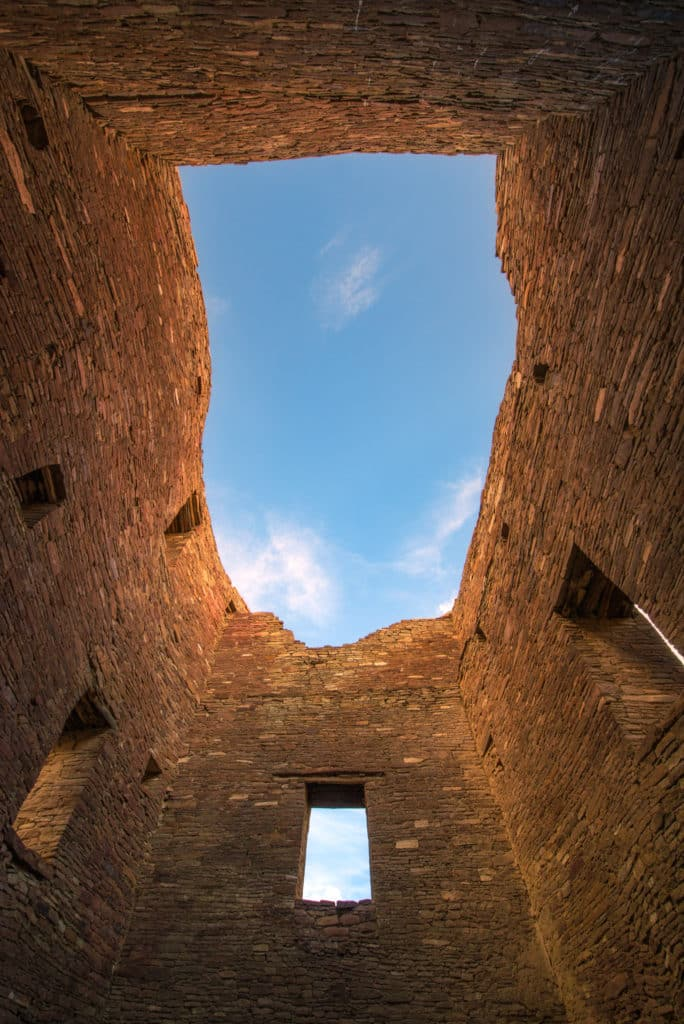 This is a view looking up through a multi-story tower in Pueblo Bonito in Chaco Canyon, New Mexico.