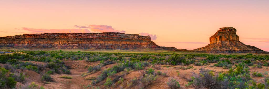Dawn Panorama of Fajada Butte located in Chaco Canyon, New Mexico.