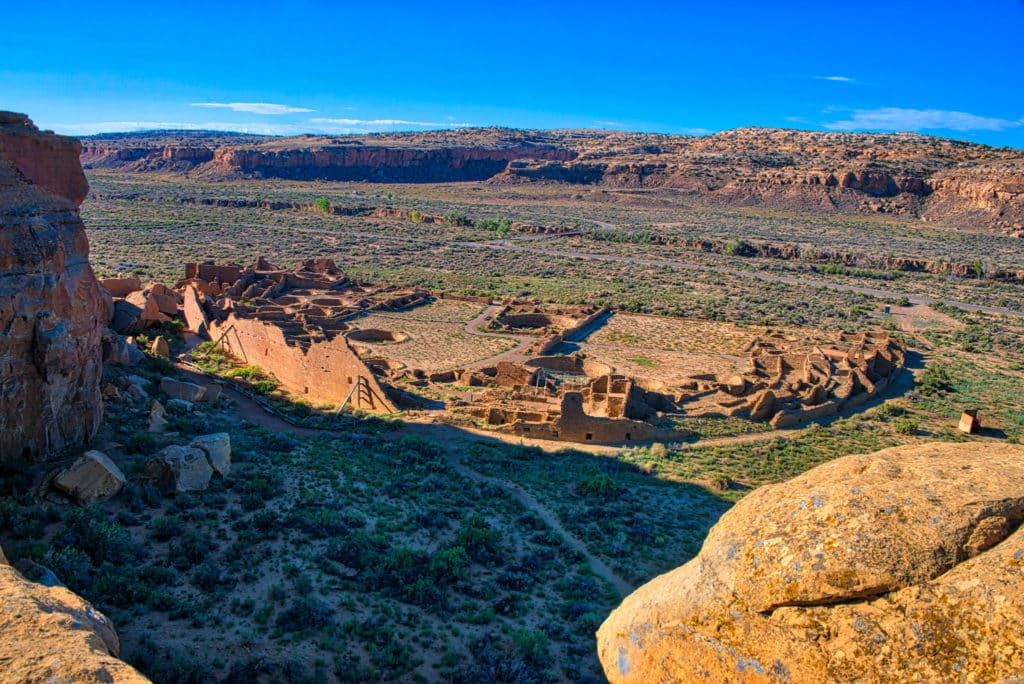A view of the layout of Pueblo Bonito from the cliffs behind the ruin in Chaco Canyon, New Mexico.