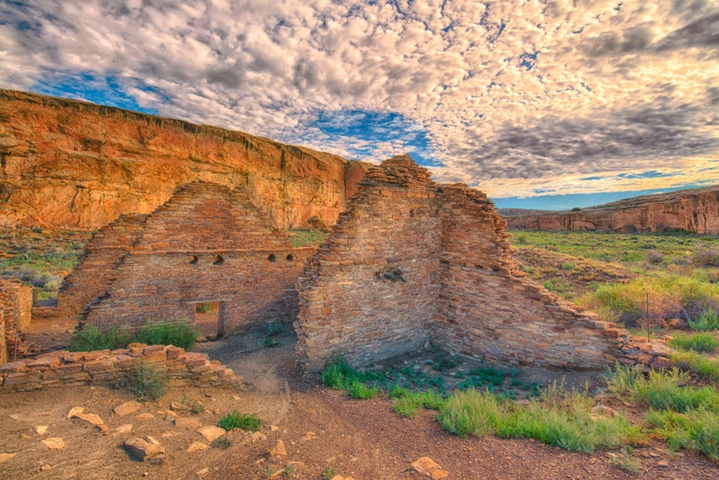 A view of Chetro Ketl ruins, looking east down Chaco Wash in Chaco Canyon, New Mexico.