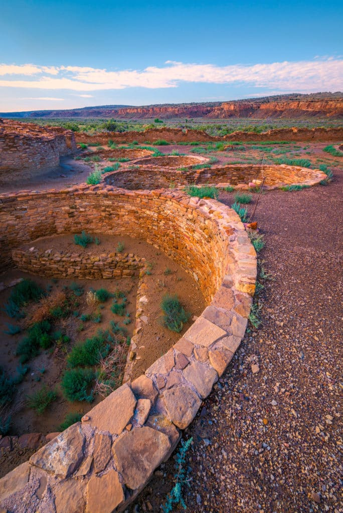 A view of a cluster of kivas located in the southeeast corner of Chetro Ketl in Chaco Canyon, New Mexico.
