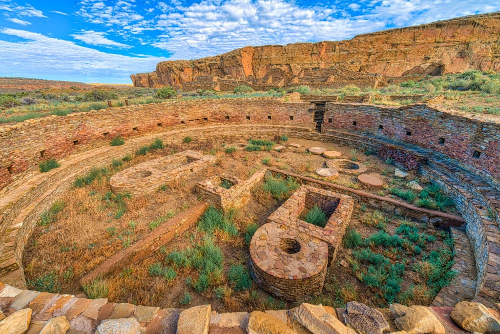 This is a view into the larger of two great kivas found in the courtyard of Chetro Ketl in Chaco Canyon, New Mexico.