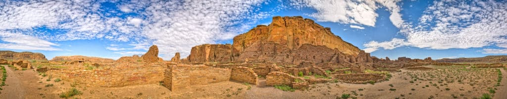 This panorama shows the entire Pueblo Bonito great house site. Pueblo Bonito was the largest of the Chacoan great houses with over 700 rooms, 32 kivas, and 3 great kivas. Pueblo Bonito is located in Chaco Canyon, New Mexico.
