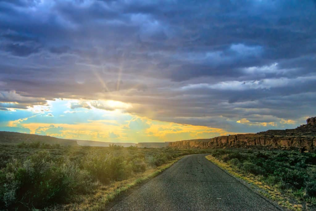 This is a view down the road leading to the Chaco Canyon Visotor Center in New Mexico.