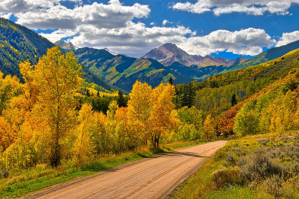 A nice view of Snowmass Mountain from Snowmass Creek Road near Aspen, Colorado.