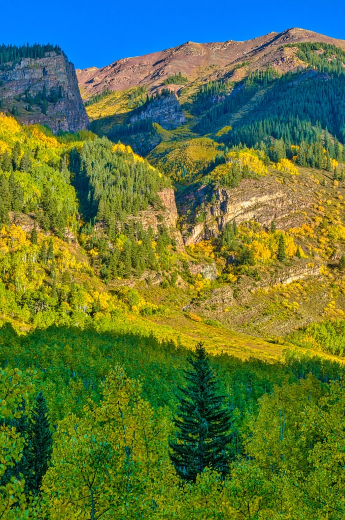 A lovely view of a coulee from Marron Creek Road, on the way to the Maroon Bells, near Apsen, Colorado.