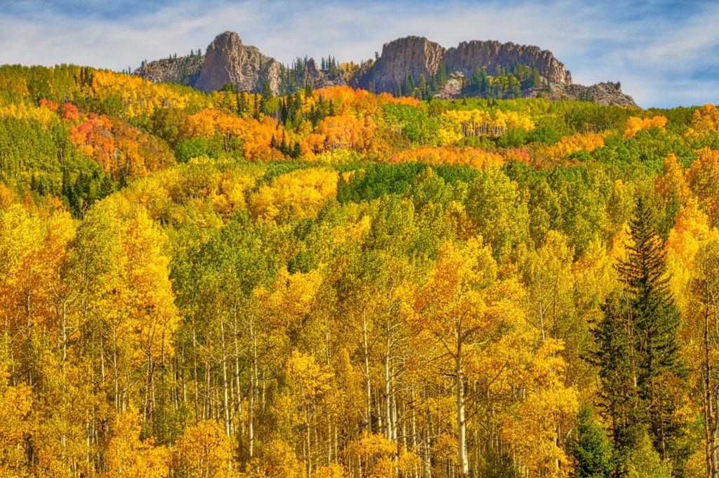 A view from CR12 southeast of Kebler Pass at a volcanic dike floating in a sea of aspens and fir.