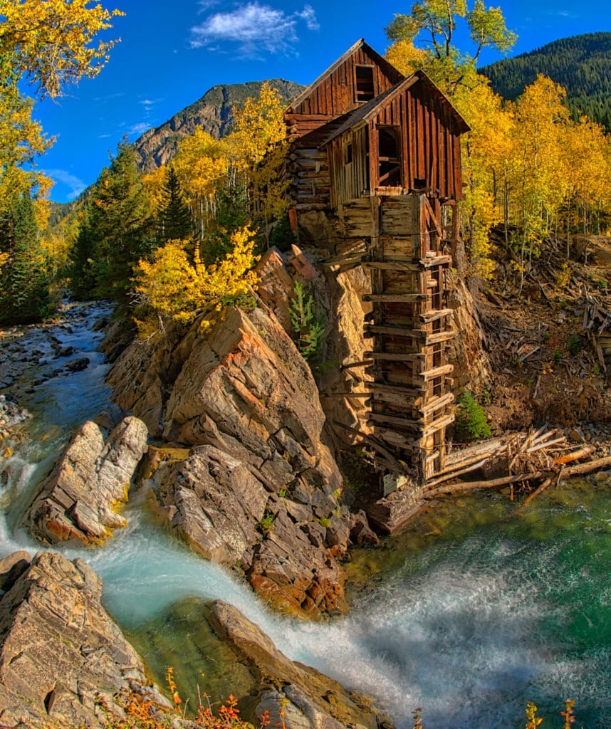 A view of the old Crystal Powerhouse along the Crystal River near Marble, Colorado.