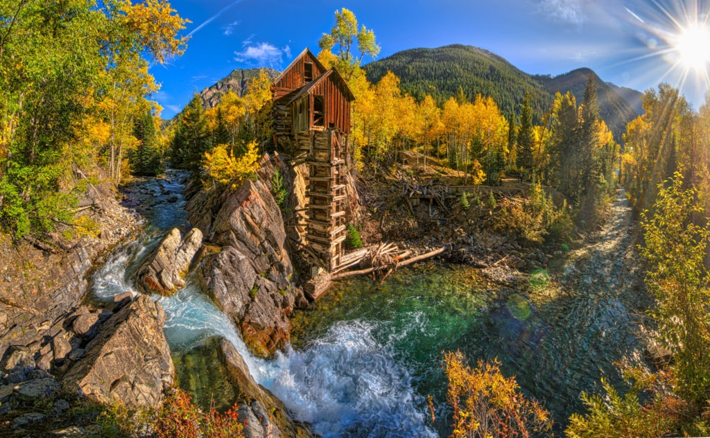 A panoramic view of the old Crystal Powerhouse along the Crystal River near Marble, Colorado.