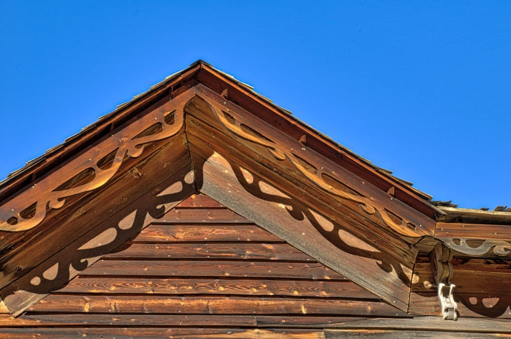 Closeup of the fretwork along the eaves of an abandoned hotel in Ashcroft Ghost Town near Aspen, Colorado.