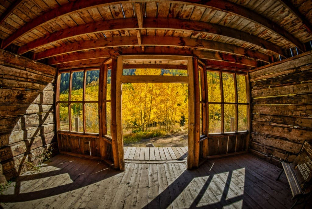 """A view looking out from the """"lobby"""" of the hotel in the ghost town of Ashcroft, Colorado."""
